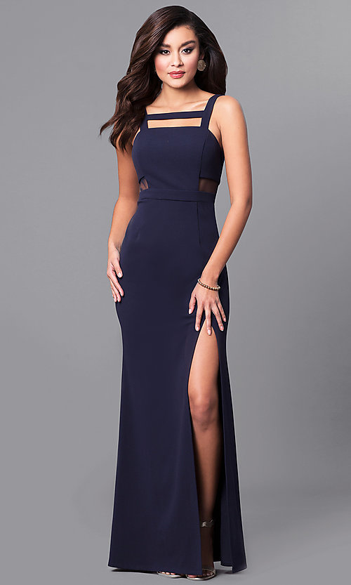 Image of formal navy blue long prom dress with sheer sides. Style: DMO-J315466 Front Image