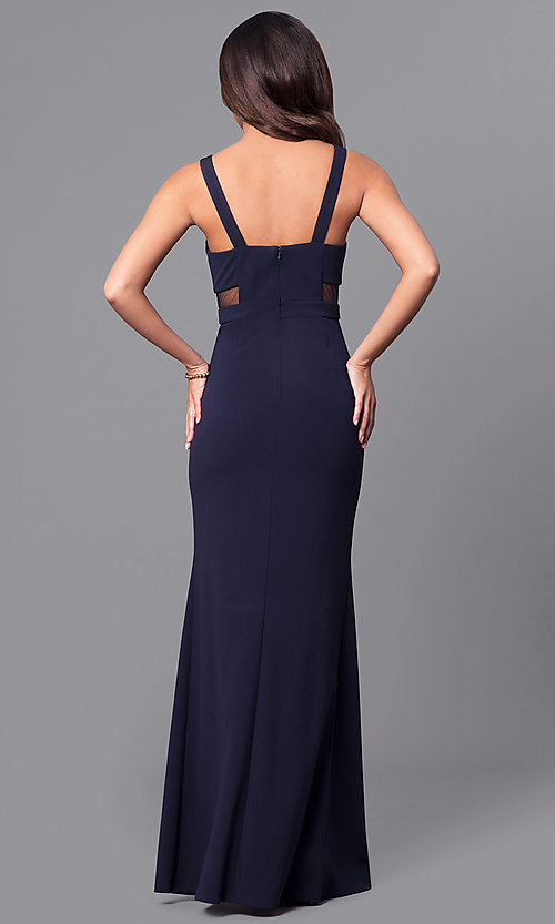 Image of formal navy blue long prom dress with sheer sides. Style: DMO-J315466 Back Image