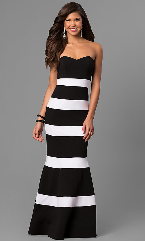 Image of long strapless mermaid prom dress with stripes. Style: DMO-J314426 Front Image