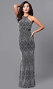 Image of back-keyhole long black and white print prom dress. Style: DMO-J315236 Detail Image 1