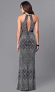 Image of back-keyhole long black and white print prom dress. Style: DMO-J315236 Back Image