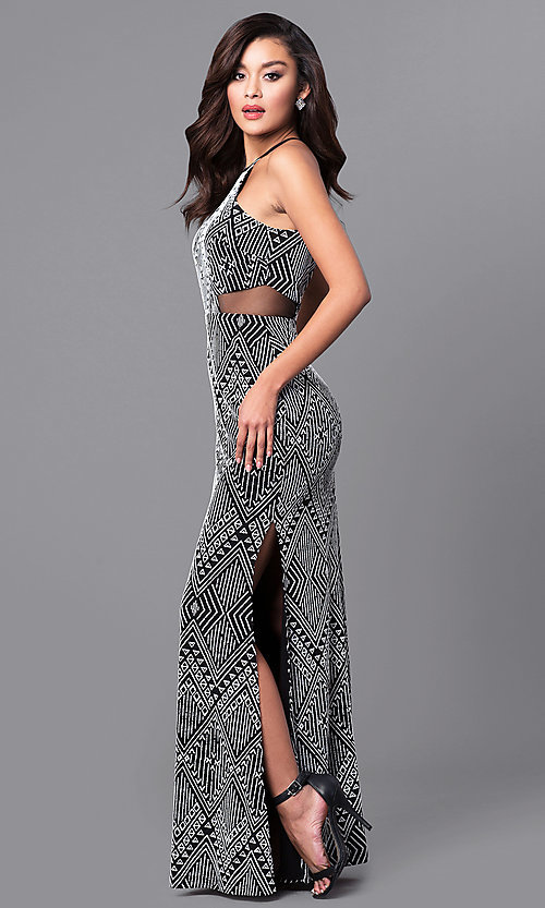 Image of back-keyhole long black and white print prom dress. Style: DMO-J315236 Front Image