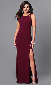 Image of unique long burgundy prom dress with cut-outs. Style: DMO-J315496 Front Image