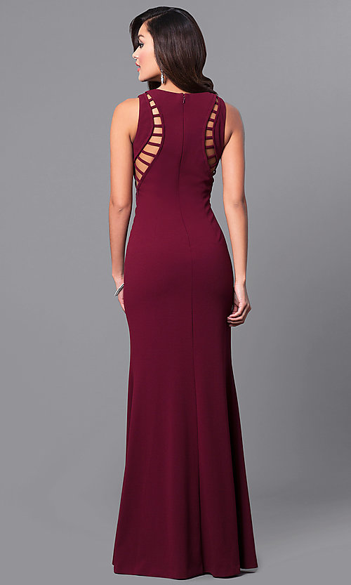 Image of unique long burgundy prom dress with cut-outs. Style: DMO-J315496 Back Image