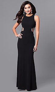 Image of high-neck long black prom dress with multi-strap back. Style: DMO-J315486 Front Image