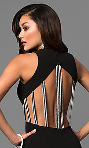 Image of high-neck long black prom dress with multi-strap back. Style: DMO-J315486 Detail Image 1