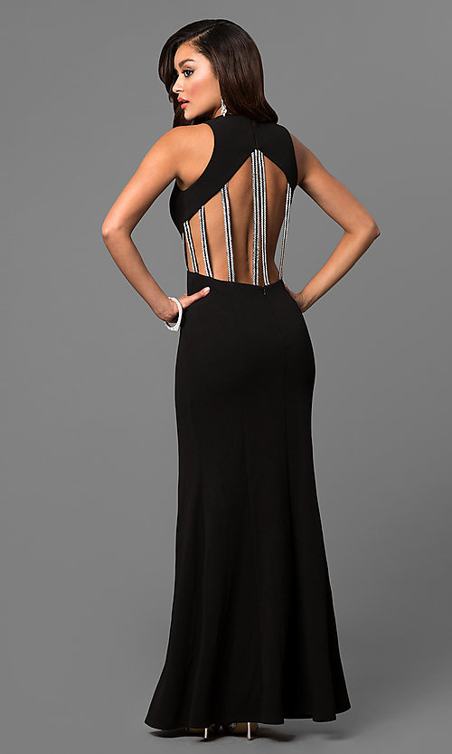 Image of high-neck long black prom dress with multi-strap back. Style: DMO-J315486 Back Image