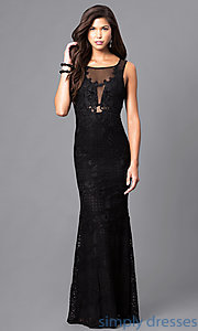 Image of long lace formal mermaid prom dress. Style: LP-23362 Front Image