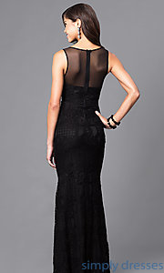 Image of long lace formal mermaid prom dress. Style: LP-23362 Back Image