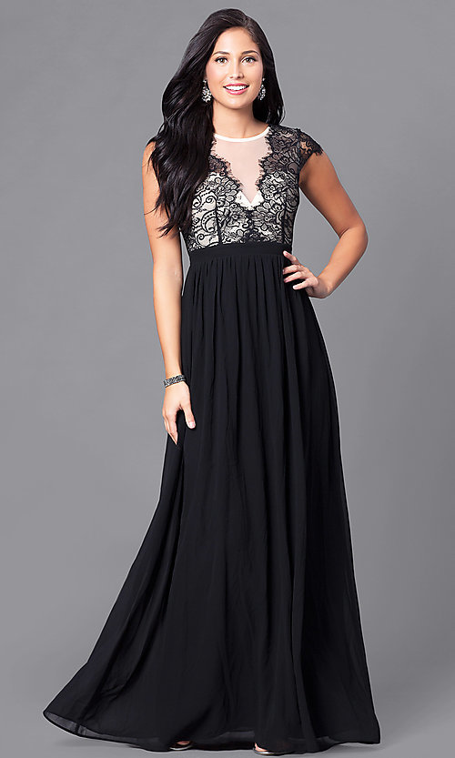 Image of formal v-neck illusion lace-bodice long dress Style: LP-23470 Front Image