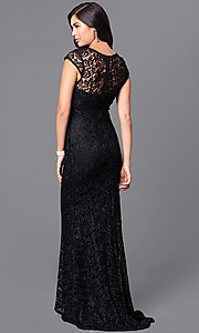 Image of long formal lace prom dress with cap sleeves. Style: LP-23833 Back Image