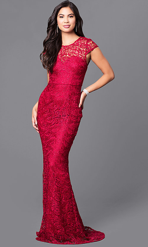 Image of long formal lace prom dress with cap sleeves. Style: LP-23833 Detail Image 1