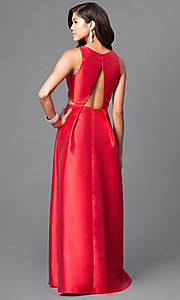 Image of satin long formal prom dress with cut outs. Style: LP-23856 Back Image