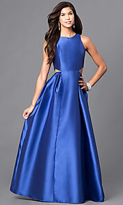 Image of satin long formal prom dress with cut outs. Style: LP-23856 Detail Image 1