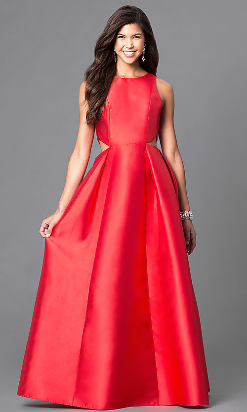 Image of satin long formal prom dress with cut outs. Style: LP-23856 Front Image
