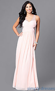 Image of illusion v-neck long prom dress with empire waist. Style: LP-23867 Detail Image 2