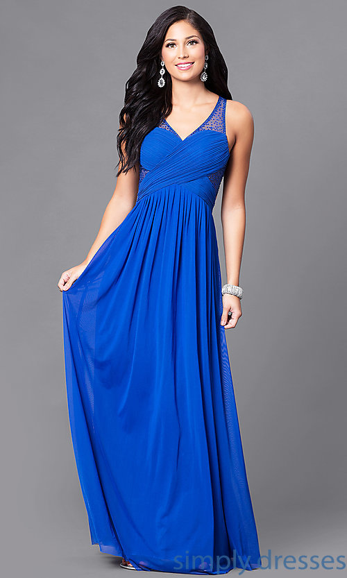 Image of illusion v-neck long prom dress with empire waist. Style: LP-23867 Front Image