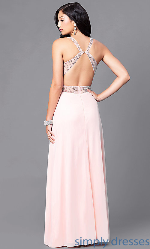 Image of illusion v-neck long prom dress with empire waist. Style: LP-23867 Back Image