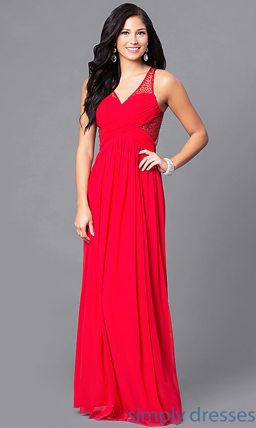 Image of illusion v-neck long prom dress with empire waist. Style: LP-23867 Detail Image 1