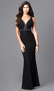 Image of v-neck long lace prom dress with empire waist. Style: LP-23941 Front Image