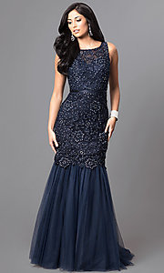Image of long navy blue formal prom dress with sequined lace. Style: DQ-9256-N Front Image