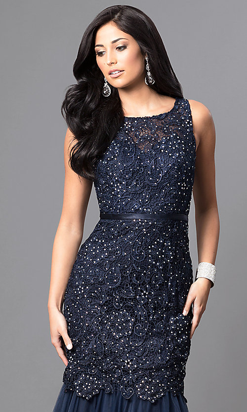 Image of long navy blue formal prom dress with sequined lace. Style: DQ-9256-N Detail Image 1