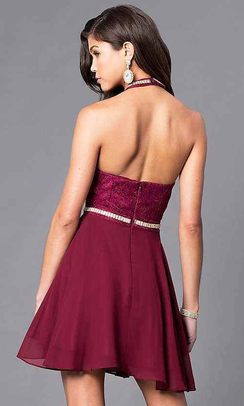 Short Halter Party Dress With Jeweled High Collar