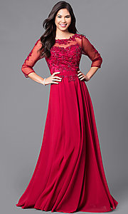 Image of long prom dress with sleeves and beaded lace. Style: DQ-9473 Detail Image 1
