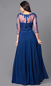 Image of long prom dress with sleeves and beaded lace. Style: DQ-9473 Back Image