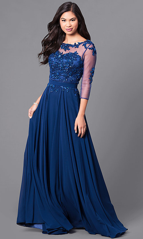 Image of long prom dress with sleeves and beaded lace. Style: DQ-9473 Front Image