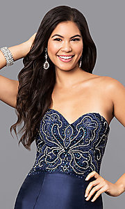 Image of long strapless mermaid prom dress with Beaded Bodice Style: NA-8257 Detail Image 1