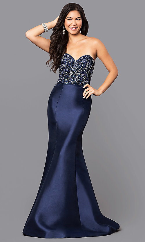 Image of long strapless mermaid prom dress with Beaded Bodice Style: NA-8257 Front Image