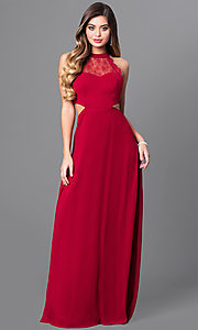 Image of long prom dress with sheer-lace cut-out bodice. Style: MT-8149 Front Image