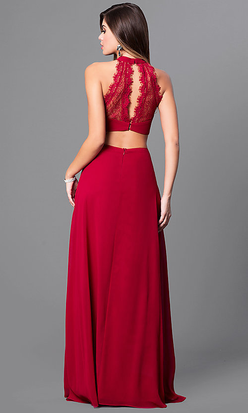 Image of long prom dress with sheer-lace cut-out bodice. Style: MT-8149 Back Image