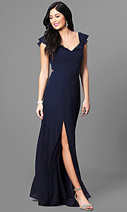 Image of cap-sleeve navy blue long prom dress with ruffle. Style: MT-8172 Front Image