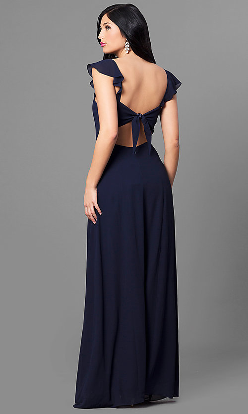 Image of cap-sleeve navy blue long prom dress with ruffle. Style: MT-8172 Back Image