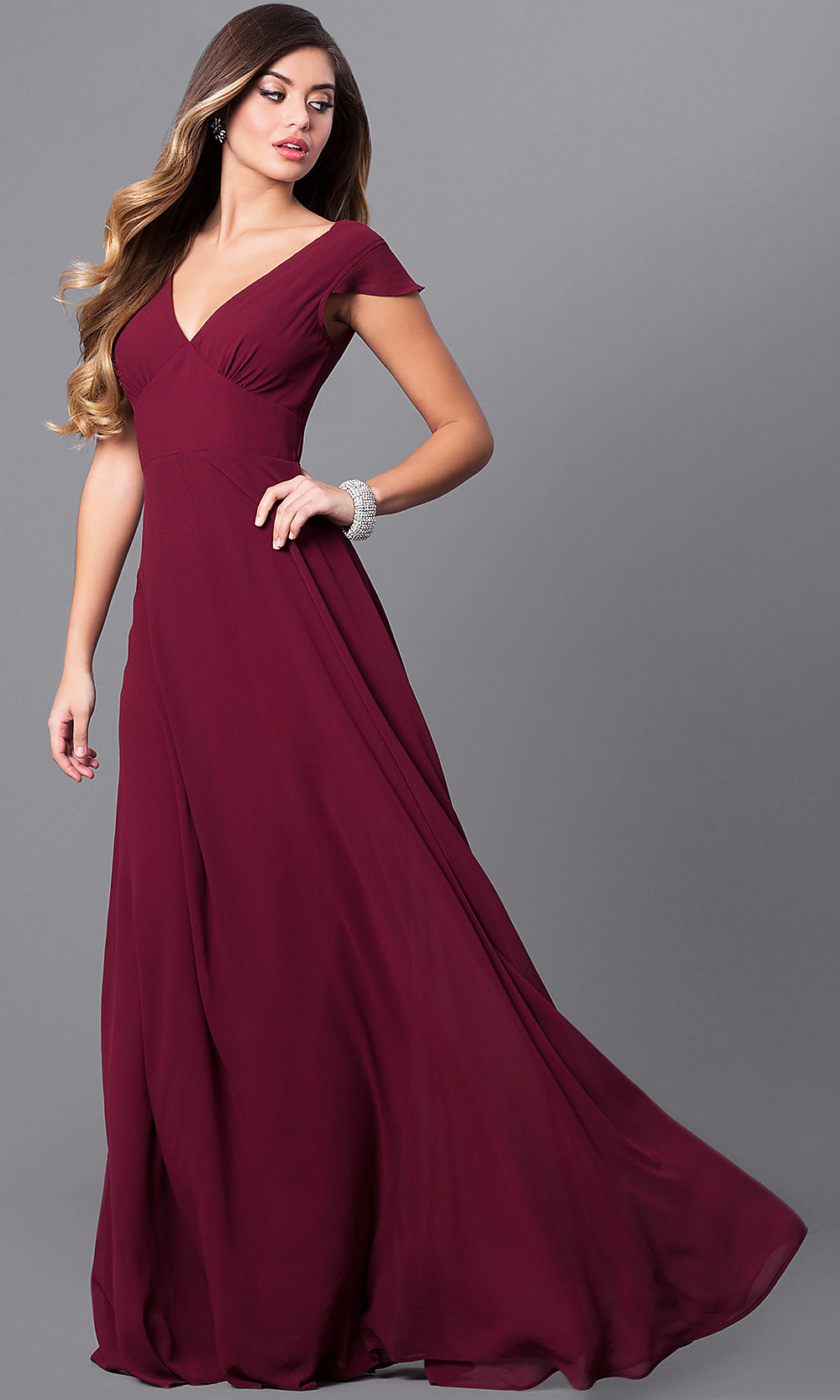 8115d0e3b26 Image of empire-waist long prom dress with flutter sleeves. Style  MT-. Tap  to expand