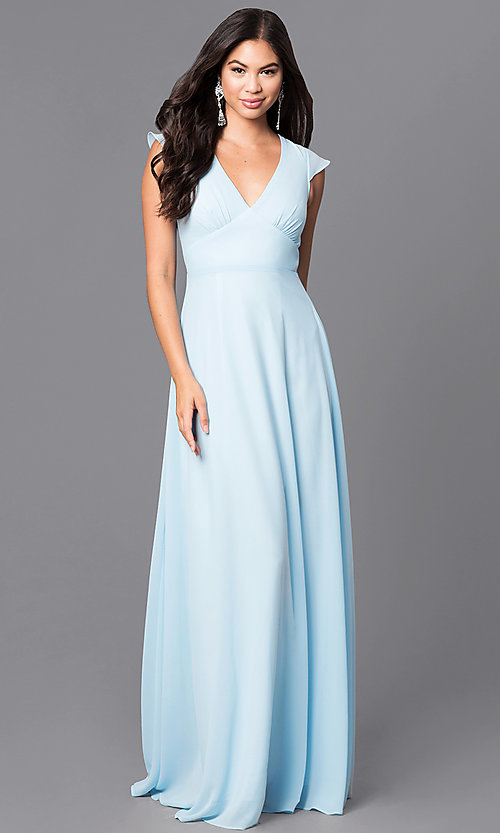 3a587de68c Image of empire-waist long prom dress with flutter sleeves. Style  MT-