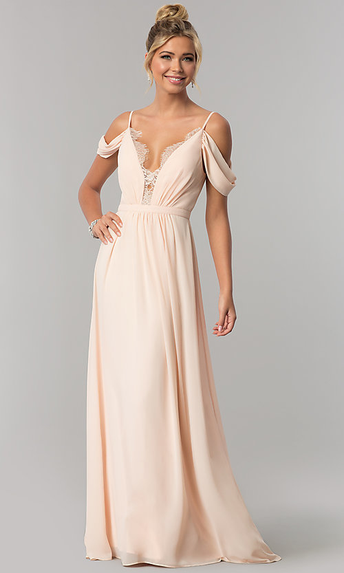 1b61457ad9f Image of chiffon cold-shoulder long prom dress in blush pink. Style  MT