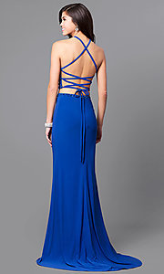 Image of two-piece long prom dress with beaded crop top. Style: AL-6809 Back Image