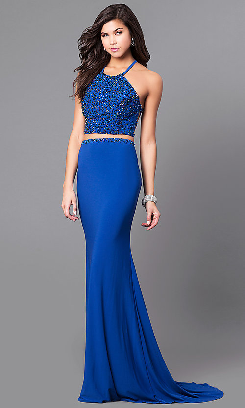 Image of two-piece long prom dress with beaded crop top. Style: AL-6809 Front Image