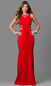 Image of long Alyce high-neck prom dress with cut outs. Style: AL-8006 Front Image