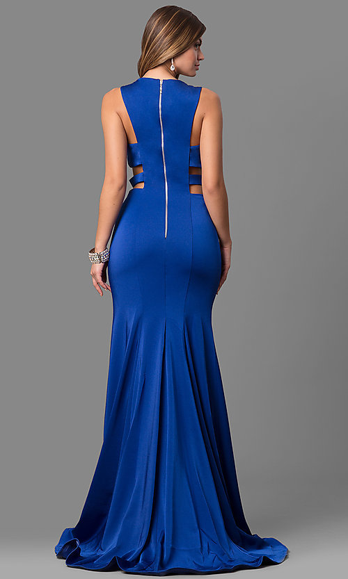 Image of long Alyce high-neck prom dress with cut outs. Style: AL-8006 Back Image