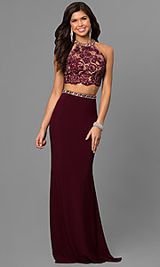 Image of lace-top two-piece long prom dress by Alyce. Style: AL-8020 Front Image