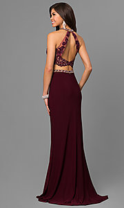 Image of lace-top two-piece long prom dress by Alyce. Style: AL-8020 Back Image