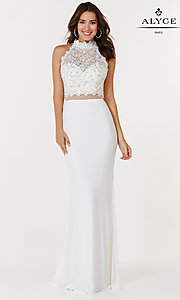 Image of long Alyce jersey sheer-waist prom dress. Style: AL-A6737 Detail Image 1
