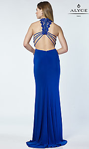 Image of long Alyce jersey sheer-waist prom dress. Style: AL-A6737 Back Image
