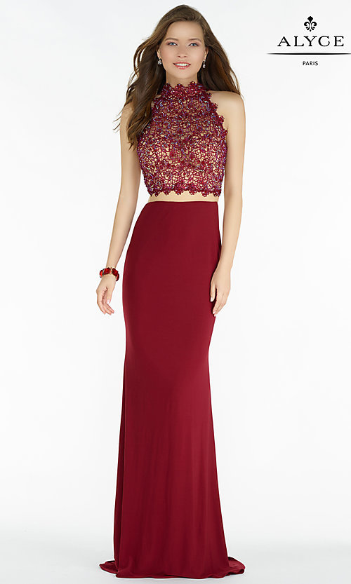 Image of long Alyce jersey sheer-waist prom dress. Style: AL-A6737 Front Image