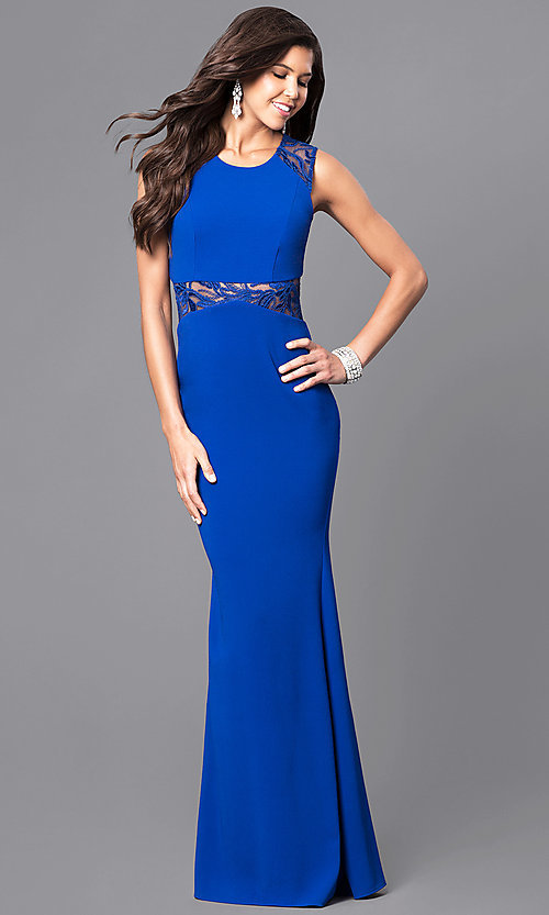 Long Royal Blue Mermaid Dress with Sheer-Lace Midriff