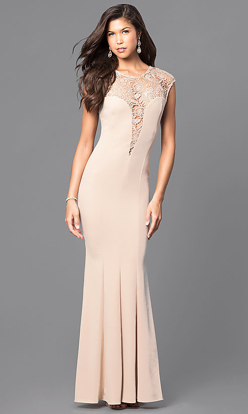 bef62b49962 Image long wedding-guest dress with lace cap sleeves. Style  MCR-1709